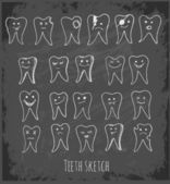 Collection of teeth doodles on black chalkboard. — Stock Vector