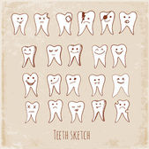 Collection of teeth doodles in vintage style. — Stock Vector