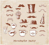 Moustache party objects — Stockvector