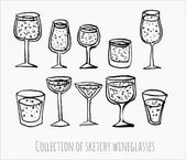 Sketches of wineglasses. — Stock Vector