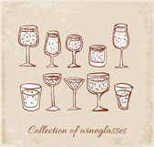 Sketches of wineglasses — Stock Vector
