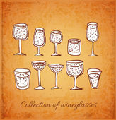 Vintage sketches of wineglasses. — Stock Vector