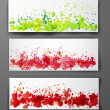 Set of abstract backgrounds with grunge splashes in autumn colors. — Stock Vector