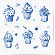 Sketches of cupcakes. — Stock Vector