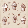 Sketches of cute cupcakes in vintage style.  — Stock Vector