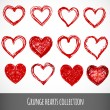 Set of vector sketch hearts — Vettoriale Stock