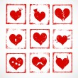 Set of bright grunge rubber stamps with cute hearts for your design. — Stockvektor