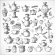 Sketches of tea objects. — Stock Vector