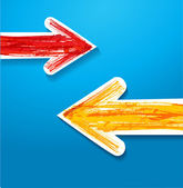 Red and yellow arrows — Stock Vector