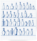 Old bottles collection on lined paper. — Stock Vector