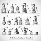 Kolekcja vintage młynki do kawy — Wektor stockowy