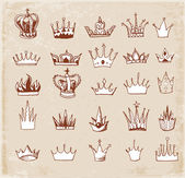 Sketches of crown in vintage style. — Stock Vector
