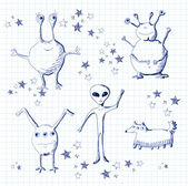 Set of sketch aliens — Stock Vector