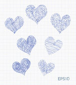 Set of vector sketch doodle hearts — Stock Vector