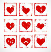 Set of bright grunge rubber stamps with cute hearts for your design. — Stock Vector