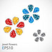 Jewel flowers. — Stock Vector