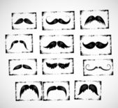 Big collection of moustaches — Stock Vector