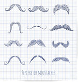 Set of hand-drawn moustaches. — Stockvektor