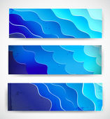 Set of blue stylized aquatic banners. — Stock Vector