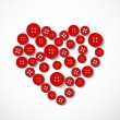 Red heart made from buttons — Vector de stock