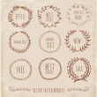 Stock Vector: Sketch frames, hand-drawn in vintage style