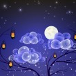 Fantastic night landscape with the Moon and lanterns — Stock Vector
