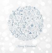 Greeting card with christmas trees, christmas balls — Stock Vector