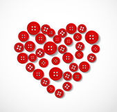 Red heart made from buttons — Stockvektor