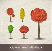 Hand drawn autumn trees. — Stock Vector