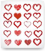 Set of vector sketch hearts — Stock Vector