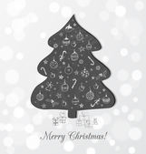 Christmas card with blackboard Christmas tree — Stock Vector