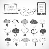 Icons of clouds, phone, laptop and arrows — Stock Vector