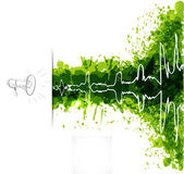 Music background with loudspeaker and oscillation on green grunge splashes — Stock Vector