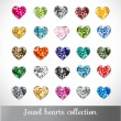 Big collection of jewel hearts. — Stock Vector