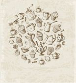 Card with cakes, cupcakes, tea — Stock Vector