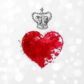 Card with heart and crown — Stockvector