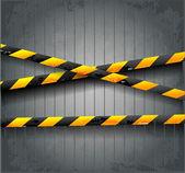 Danger tapes on dark grunge background. — Stockvector