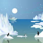 Icebergs and penguins. — Stock Vector