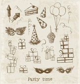 Set of sketch party objects — Stock Vector