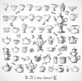 Sketches of vintage cups and tea pots. — Stock Vector