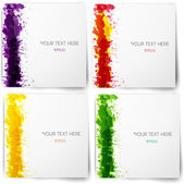 Set of abstract backgrounds with bright grunge splashes in autumn colors. — Stock Photo