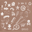 Sketch of web design icons on brown paper. — Stock Vector