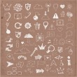 Sketch of web design icons hand drawn on brown paper — Stock Vector
