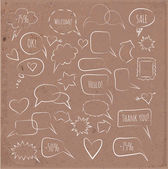 Sketchy speech bubbles on brown paper. — Stock Vector