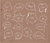 Set of hand-drawn speech bubbles on brown paper. — Stockvektor