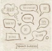 Skizzenhafte Rede und Gedanken Blasen handgezeichneten mit Tinte. — Stockvektor