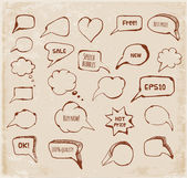 Sketchy speech bubbles in vintage style. — Stock Vector