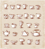 Sketches of cute boiling teapots hand-drawn in vintage style. — Stock Vector