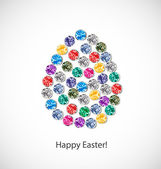 Easter card. Easter egg made of jewels. — Stock Vector