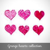 Set of vector sketch hearts — Vector de stock